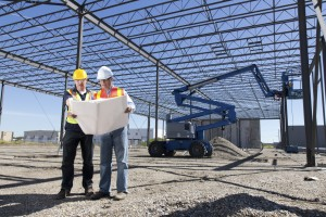 Construction Workers and Steel Frame Building